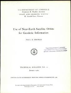 Use of Near earth Satellite Orbits for Geodetic Information PDF