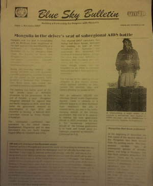 Blue Sky Bulletin UNDP Mongolia 1997 to 1999  Internal Newsletter of UNDP s Partnership for Progress in Mongolia PDF