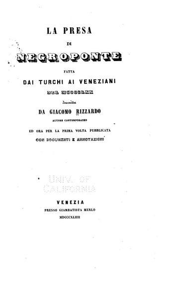 La Presa Di Negroponte Fatta Dai Turchi Ai Veneziani Nel 1470
