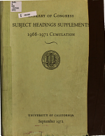 Library of Congress Subject Headings Supplements  1966 1971 Cumulation PDF