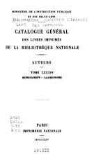 Catalogue g  n  ral des livres imprim  s  auteurs   collectivit  s auteurs   anonymes  1960 1964 PDF