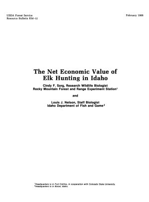 The Net Economic Value of Elk Hunting in Idaho PDF