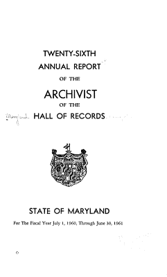 Annual Report of the Archivist of the Hall of Records PDF