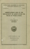 Abbreviations Used in the Department of Agriculture for Titles of Publications PDF