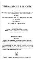 Physikalische Berichte PDF