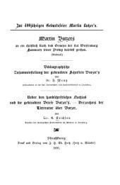 Zur 400jährigen Geburtsfeier Martin Butzer's