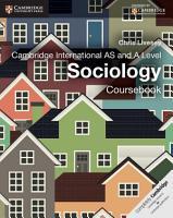 Cambridge International AS and A Level Sociology Coursebook PDF