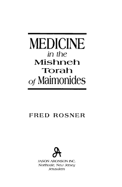 Medicine in the Mishneh Torah of Maimonides PDF