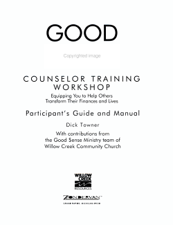 Good Sense Counselor Training Workshop Participant s Guide and Manual PDF
