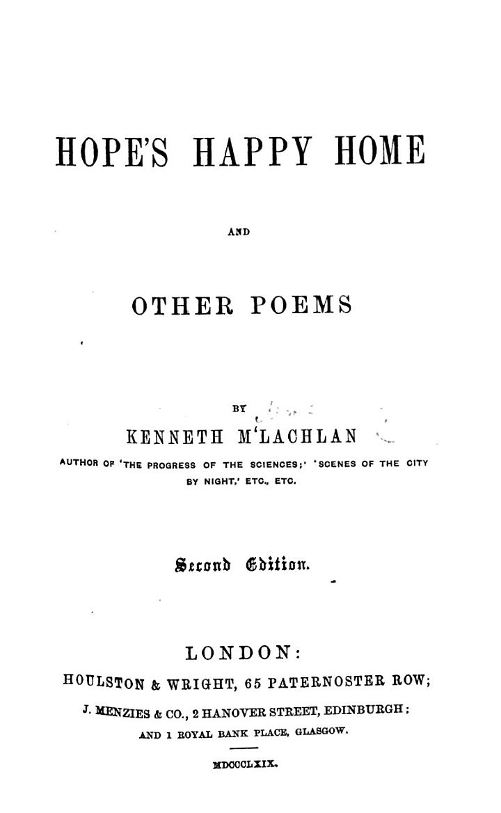 Hope's Happy Home and other poems. Second edition