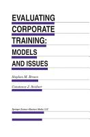 Evaluating Corporate Training  Models and Issues PDF