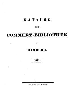 Katalog Der Commerz Bibliothek in Hamburg 1841 PDF
