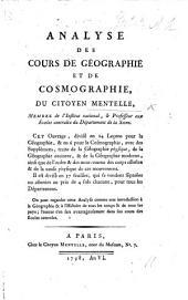 Analyse des cours de Géographie et de Cosmographie, etc. F.P.