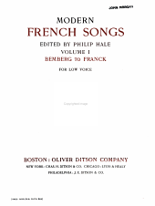 Modern French songs: for low voice, Volume 1
