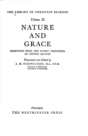 The Library of Christian Classics  Aquinas on nature and grace PDF