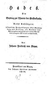 Hades: Ein Beytrag zur Theorie der Geisterkunde