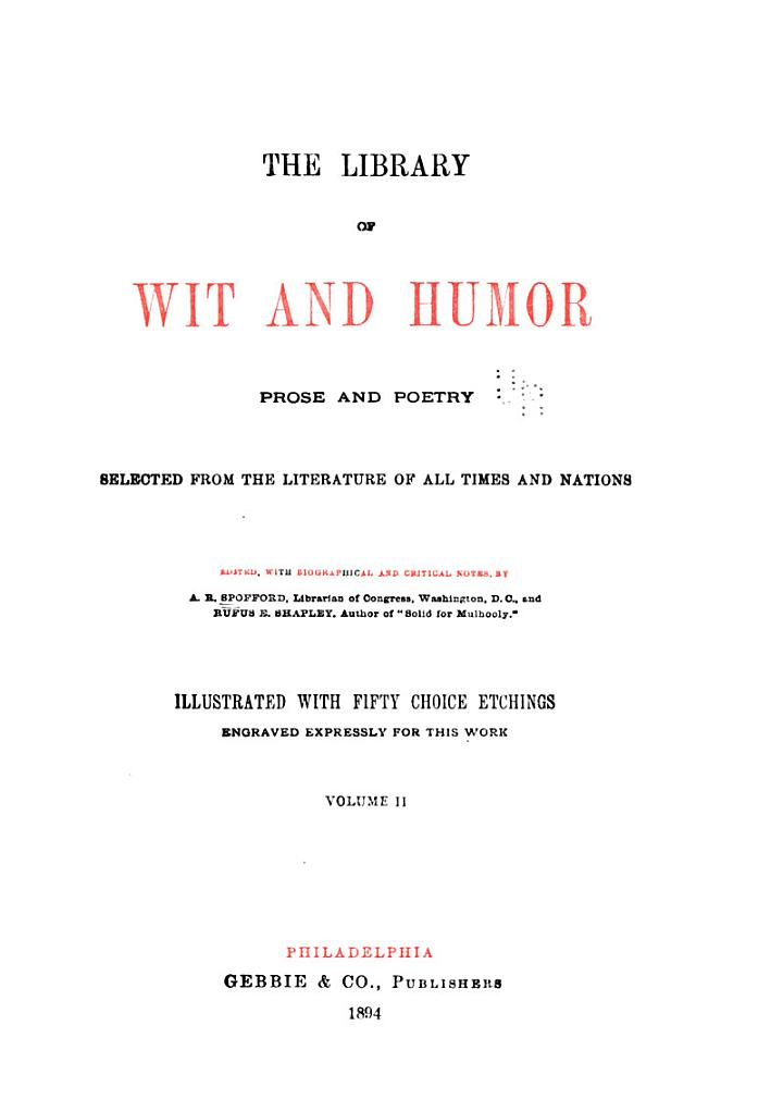 The Library of Wit and Humor, Prose and Poetry