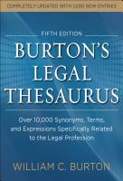 Burtons Legal Thesaurus 5th Edition  Over 10 000 Synonyms  Terms  and Expressions Specifically Related to the Legal Profession PDF