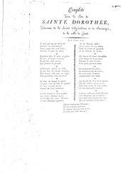 Couplets pour la fête de Sainte Dorothée, patronne de la Société d'agriculture et de botanique, de la ville de Gand. Le 6. Février 1810