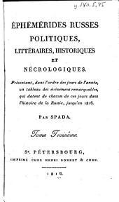 Ephemerides Russes, Politiques, Litteraires, Historiques et Necrologiques, Tome Troisieme