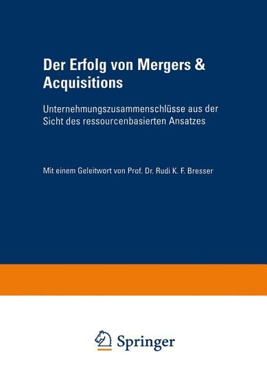 Der Erfolg von Mergers   Acquisitions PDF