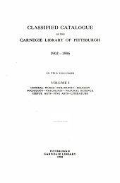 Classified Catalogue of the Carnegie Library of Pittsburgh: Volume 4