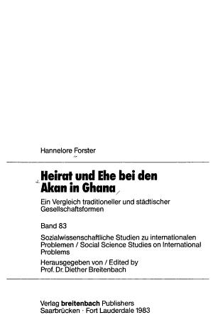 Heirat und Ehe bei den Akan in Ghana PDF