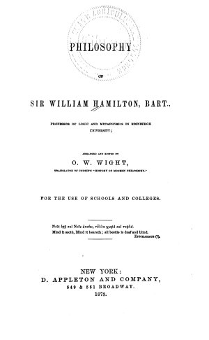 Philosophy of Sir William Hamilton  Bart
