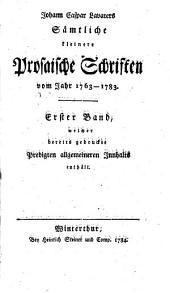 Sämmtliche kleine prosaische Schriften vom Jahre: Band 1