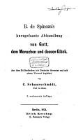 B  de Spinoza kurzgefasste Abhandlung von Gott  dem Menschen und dessen Gl  ck PDF