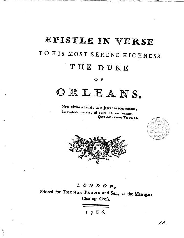 Epistle in verse to ... the duke of Orleans