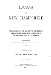 Laws of New Hampshire: Province period, 1679-1702