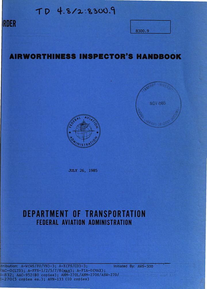 Airworthiness Inspector's Handbook