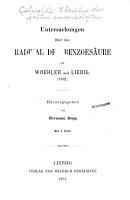 Untersuchungen   ber das Radikal der Benzoes  ure PDF