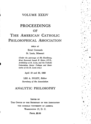 Proceedings of the American Catholic Philosophical Association PDF