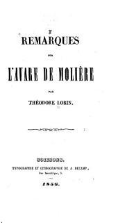 Remarques sur l'Avare de Molière