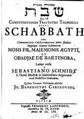 Mishnayot masekhet Shabat: hoc est, Constitutiones tractatus Talmudici dicti Schabbath