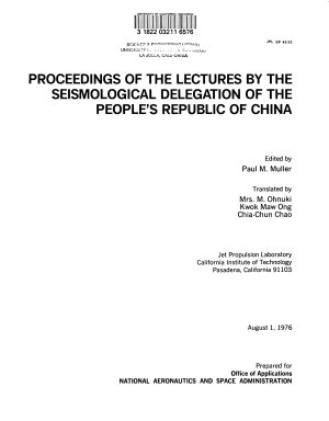 Proceedings of the Lectures by the Seismological Delegation of the People's Republic of China