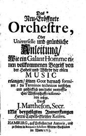 Das neu-eröffnete Orchestre: Band 1