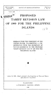 Proposed Tariff Revision Law of 1909 for the Philipine Islands