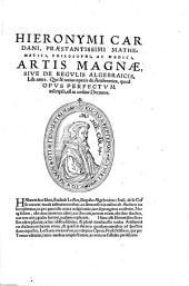 Artis magnae, sive de regulis algebraicis, liber unus