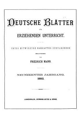 Deutsche Bl  tter f  r erziehenden Unterricht PDF