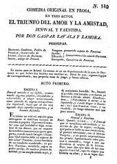 El Triunfo del amor y la amistad, Jenwal y Faustina: comedia original en prosa, en tres actos