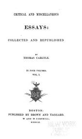 Critical and Miscellaneous Essays: Volume 1