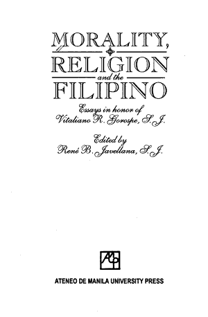 Morality, Religion, and the Filipino