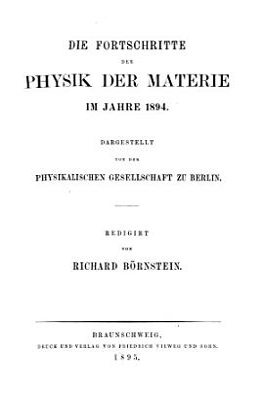 Die Fortschritte der Physik im Jahre     PDF