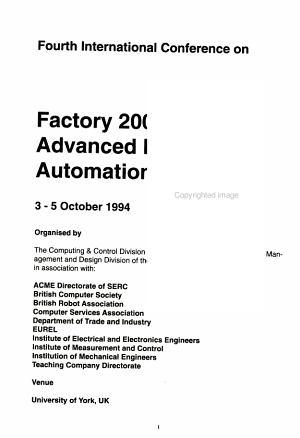Fourth International Conference on Factory 2000   Advanced Factory Information  3 5 October 1994 PDF