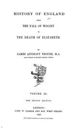 History of England from the Fall of Wolsey to the Death of Elizabeth: Volume 3