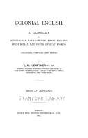 Dictionary of the Slang English of Australia PDF