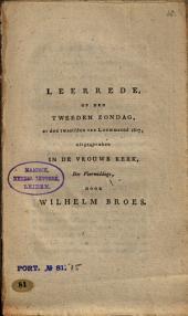 Leerrede op den tweeden Zondag, na den twaalfden van Louwmaand 1807